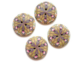 """Provencal style Large focal round buttons, Set of 4 Geometric kaleidoscope polymer clay buttons - buttons 1""""1/4 - handmade polymer clay"""