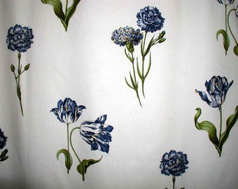 "Brunschwig and Fils Decorator Fabric - Blue Tulips on White - Approx 5.5 Yds in 3 Pieces - 60"" Wide"