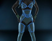 """White PVC with luminescent icy blue glowing trim underbust corset from Artifice  XS 20.5"""" for a 24-26"""" waist (photoshoot sample)"""
