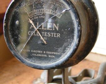 Vintage Allen Electric Cell Tester Gauge on Wood Handle