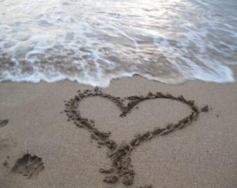 Heart Card Beach Photography Heart Drawn in Sand I love you handmade