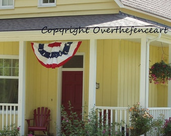 Fourth of July Card Patriotic Banner on Farmhouse Front Porch