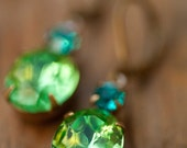 Peridot Earrings - Estate Style Vintage Glass Peridot And Aqua Swarovski Rhinestone Earrings