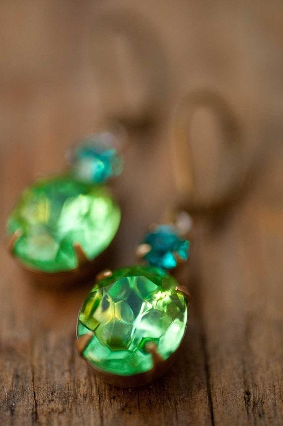 Peridot Earrings - Estate Style Vintage Glass Peridot And Aqua Swarovski Rhinestone Earrings