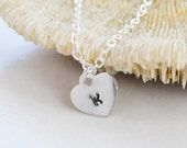 Personalized Sterling Silver Heart Pendant,  Sterling Silver Chain, Monogrammed Gift, Heart Necklace, Gift  Under 30