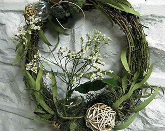 Year-round woodland vine wreath with Willow Eucalyptus Garland, Mosses, Pods, and Glass Bubble Vase for Fresh Flowers, elvish feel