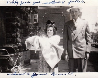 Bobby Joe's Godparents- 1940s Vintage Photograph- Little Person- Family Snapshot- Found Photo- Midget Woman- Identified Photo Paper Ephemera