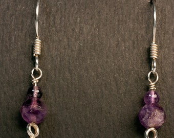 Sterling Silver and Amethyst Earrings - Free US shipping