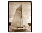 landscape photography,nature photography, beach house, ocean, sailing, nautical, Sailboat, Boating, Sepia, Ocean, Cream Fine Art Print 8x10