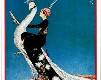 Vogue Magazine Cover  - Peacock-  George Plank illustration- Poster - Vintage