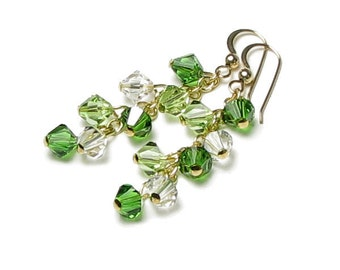 Emerald Kiss Bright Green Swarovski Crystal Cluster Earrings St. Patrick's Day Jewelry Peridot Drop Classic Clear 14K Gold Filled Gift Boxed