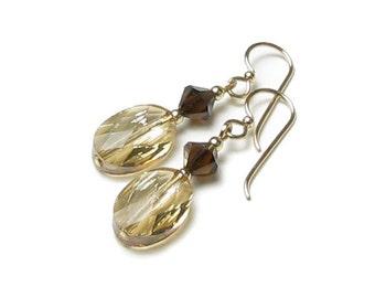 Cafe Espresso Brown Topaz Crystal Golden Shadow Oval Cameo Swarovski Crystal Earrings, Fall Wedding Jewelry, Neutral Beads Beige Dangle Drop