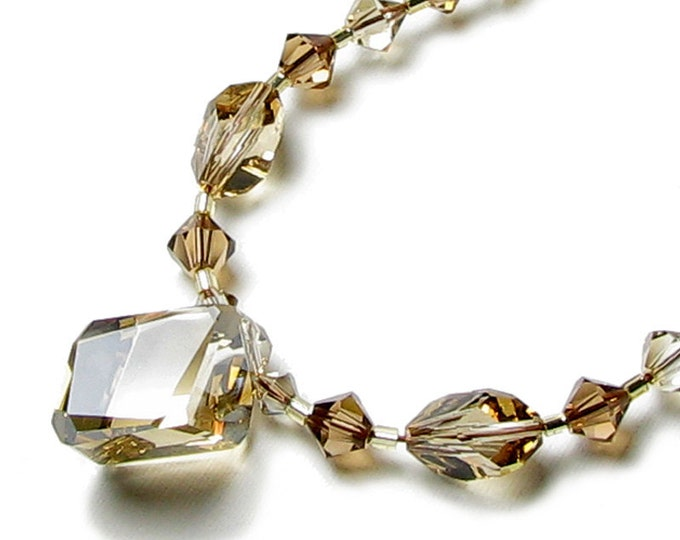 Golden Shadow Swarovski Crystal Necklace, Neutral Brown Beige Tan Floating Drop Pendant, Mother of the Bride, Classic Elegant Gift for Women