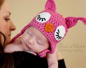 Pink Crochet Owl Hat with Earflaps & Braids, Newborn Girl Hat Girls Pink Owl Hat, Newborn to 4 Years Size (Item 1502/1503/1504/----)