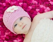 Pink Baby Cloche Hat with Cream Flower & Vintage Button, Pink Baby Hat Pink Baby Beanie Pink Cloche Hat, Newborn to 6 Month Size (Item 1304)