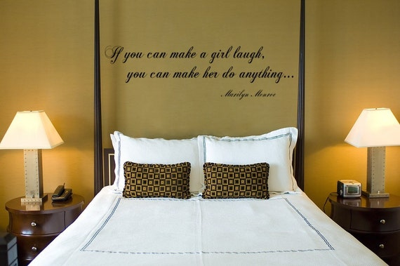 Marilyn Monroe Wall Decal Make a Girl Laugh, Vinyl Wall Decal Sticker Art Quote