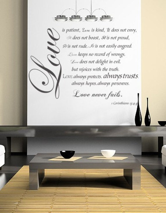 Love is Patient, Love is Kind Vinyl Decal- 1Corinthians 13 4-8 Bible Verses Wall Mural-Religious Quotes,Large
