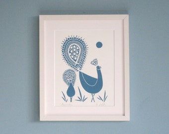Peacock Linocut Art Print - Hand Pulled Original,Teal Blue Feathers, Birds, by Giuliana Lazzerini.