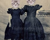 Cat Art Print, Sister Art, Two Cute Gray Cats in Dresses, Altered Civil War Family Portrait, Kitten Girls, Cute Animal Collage