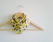 Owl Print Bandana Bib for Baby, Bright Yellow Bibdana