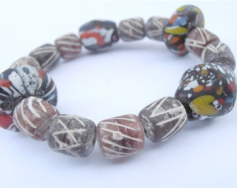 Handmade Colorful Clay Bead Bracelet Chunky Terracotta Stone Multicolored Brown Large Single Strand Glass Elastic Stretch Villacollezione