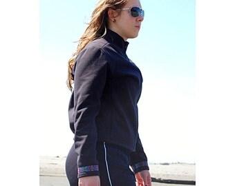 Polartec Windbloc Crop Top Womans Jacket Large Moisture Repellent Wind Breaker All Season Coat Womens Front Zip Softshell