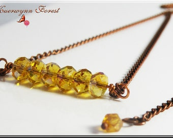 Bar Necklace, Stacked Necklace, Citrine, row necklace, minimalist, yellow necklace, topaz necklace