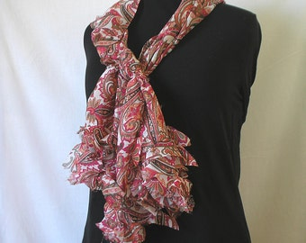 Paisley Chiffon Scarf with Abstract Ruffle in Coral, Pink, Olive, and Orange