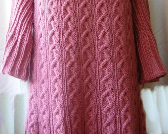 """Cable Tunic pattern. Knitted tunic / dress / sweater / jumper with no sewing.Knitting PATTERN. """"Dreaming in pink"""". Instant Digital Download."""
