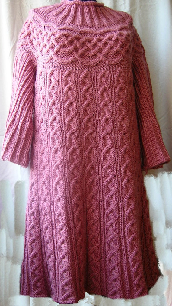 Cable Tunic pattern. Knitted tunic / dress / sweater / jumper