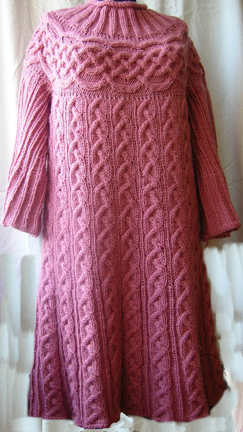 Cable Tunic Pattern Knitted Tunic Dress Sweater Jumper