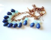 SALE Blue drops on copper set necklace and earrings  S076