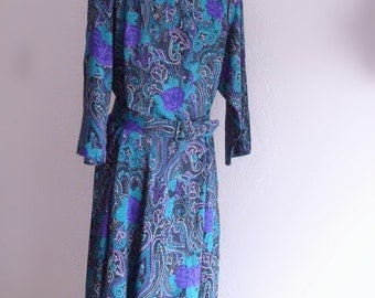 Vintage 40s Style Dress Paisley Roses Blue Green Purple