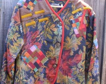 Sale Vintage Bohemian Tapestry Patchwork Jacket/ Color Block Mori girls Eco Friendly
