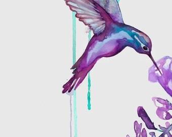 Art Print - Hummingbird, bird art, animal print, home decor, nursery art, watercolor art, hummingbird gift