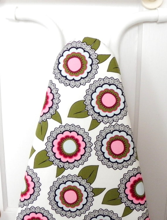 Ironing Board Cover - Floral in green, pale blue and pink