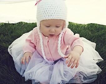 Crochet Hat Pattern:  with Crochet Heart or Fabric Bow, 'Marshmallow Bear'