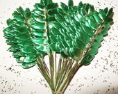 Vintage Millinery Leaves Spring DIY Paper Crafts Metallic Silver Green Foil Art DIY Wreath Flower Supplies F