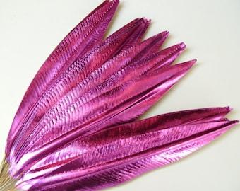 Vintage Christmas Millinery Flower HOT PINK Paper Craft Leaves Metallic Foil DIY Wreath Garland D