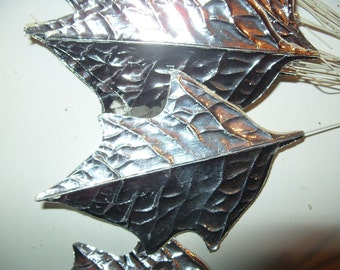 Vintage Christmas Corsage Supplies Silver Metallic Paper Poinsettia Leaves Foil DIY Wreath Corsage Art Supply E