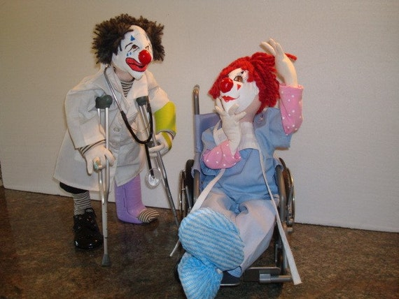 CLOWN Cloth Art Dolls OOAK / Doctor and Nurse / Hand painted clown faces /Soft Sculpture / For collectors