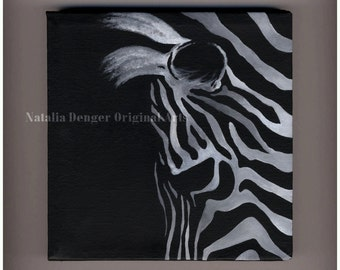 "Sale, Zebra, Original Painting, 6x6"" Canvas Painting, Wild Animals, African Animal, Black and White, Black, White, Small Gift"