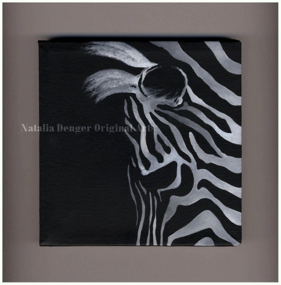 "Zebra, Original Painting, 6x6"" Canvas Painting, Wild Animals, African Animal, Black and White, Black, White, Small Gift"