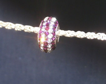Purple and clear Swarovski crystal 925 sterling silver charm bead-(14 x 8mm)