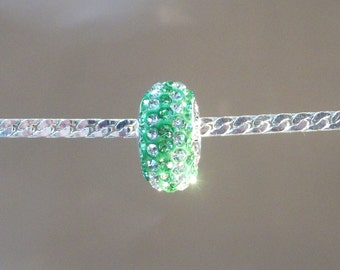 Swarovski crystal charm bead for european beads bracelet-Green and white stripe-925 sterling silver core-(14 x 8mm)