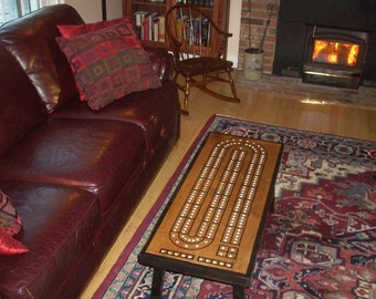 Coffee Table Cribbage Board, Early American Black Contrast Border, Best Seller, Gift for Dad, Cribbage, Cribbage Board, Coffee Table