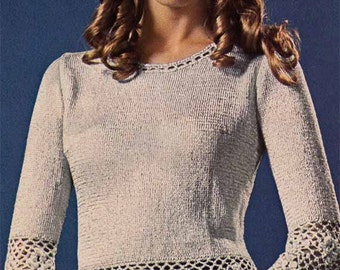 Lacy Sweater & Abba Hat 1970s Vintage KNIT/CROCHET PATTERN Boho Hipster Glitter Evening Top, frilled sleeves, Pdf from GrannyTakesATrip 0132