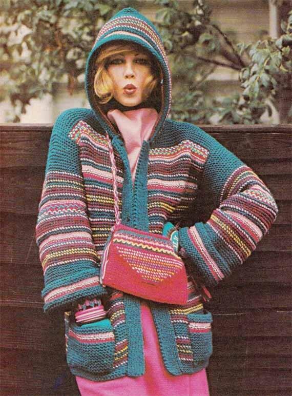 Knitting Vintage Things : Items similar to striped hoodie bag s vintage