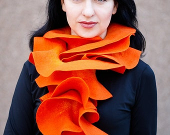 Handmade felted Wool scarf Orange Long ruffle scarf Pumpkin