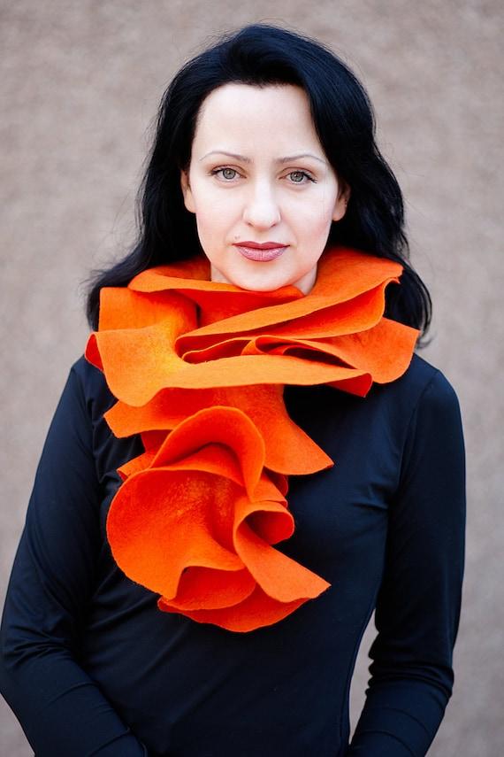 Handmade felted Orange Long ruffle scarf  Pumpkin